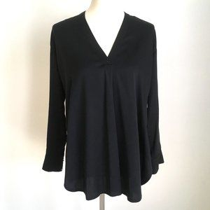 VINCE Black V Neck Silk Side Split Tunic Blouse